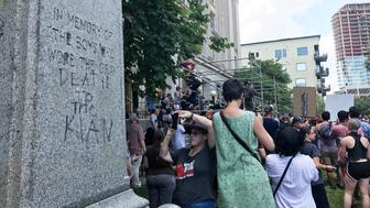 Counter-protesters gather at Durham County Courthouse
