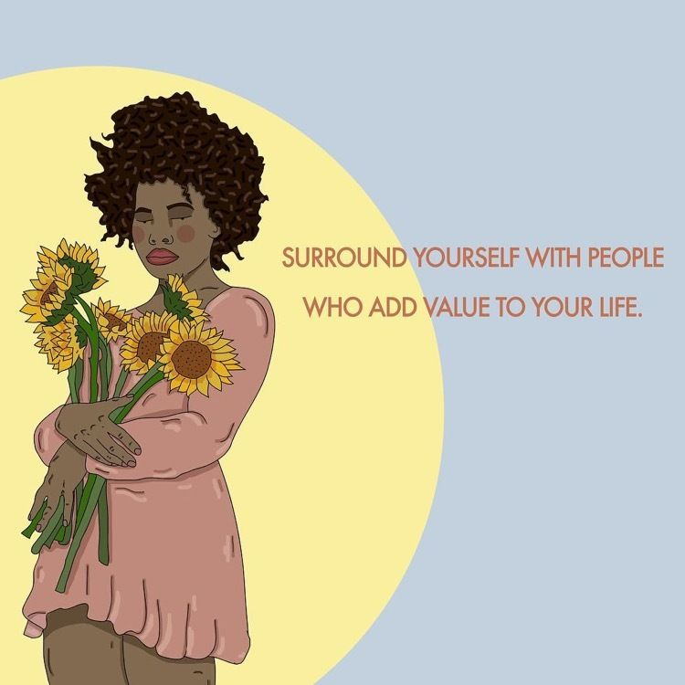 """[a Black femme hold sunflowers in their arms, as the full moon/sun surrounds them. Text reads: """"Surround yourself with p"""