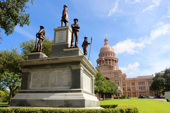 The Confederate Soldiers Monument was erected in 1903, in front of the main entrance to the Texas Capitol.