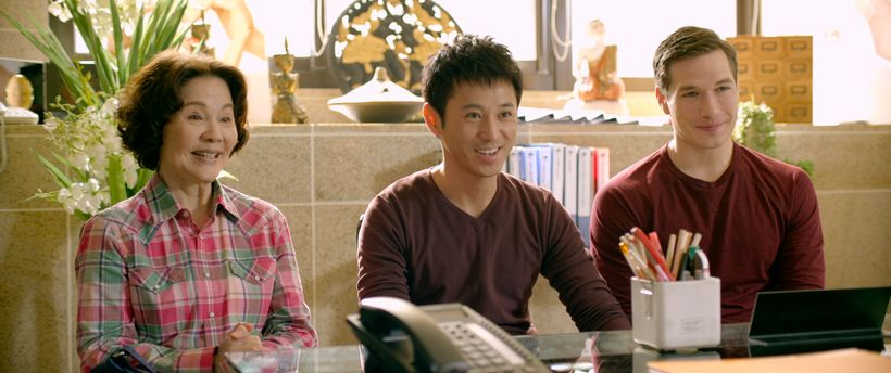 Grace Guei (left), Barney Cheng (center) and Michael Adam Hamilton (right) in BABY STEPS