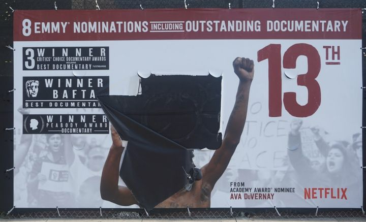 An image of the vandalized poster in Hollywood.