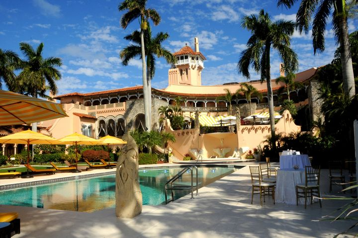 View of a pool and spa at Mar-a-Lago on Feb. 13, 2017.