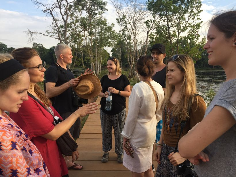 Students and staff meet up after the retreat in Siem Reap