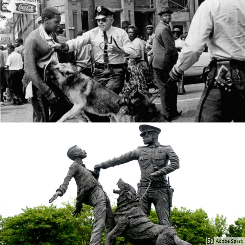 A statue in Kelly Ingram Park in Birmingham, AL and the young protester that inspired it.