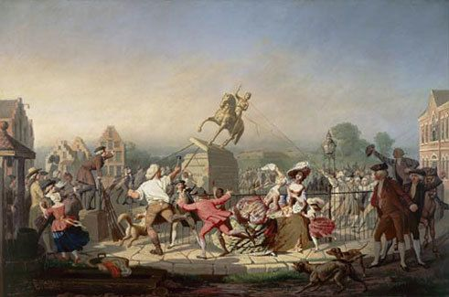 The toppling of a King George III statue in 1776