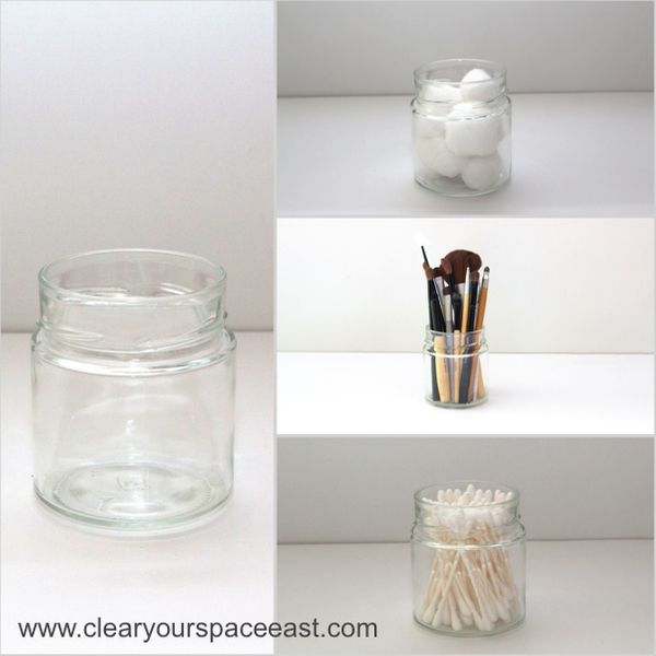 """Store similar loose items together in clear storage containers or jars. You can use whatever you already have in the h"