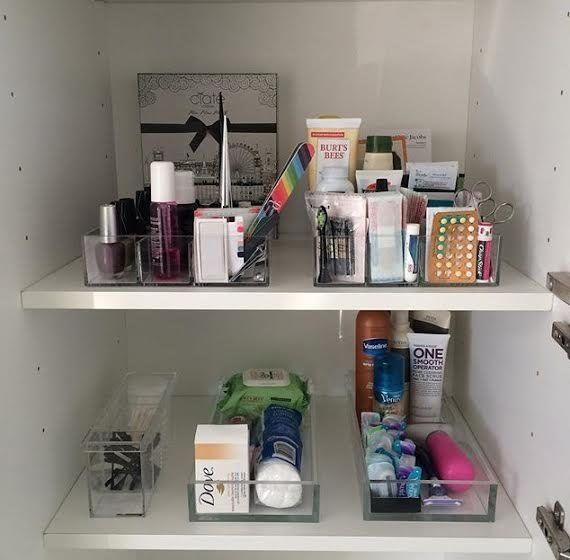 """The best way to organize in a bathroom is to sort, categorize and <i>see</i> what you have. ... On shelves, using tier"