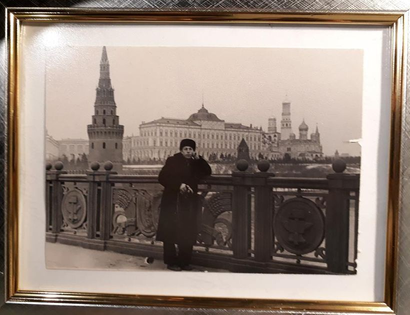 Artist's father Aleksey Nikolayevich on the Big Stone bridge in Moscow, 1957.