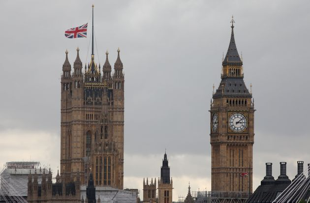 The Union Flag flies at half mast over the Palace of Westminster, a day after a van in Las Ramblas in