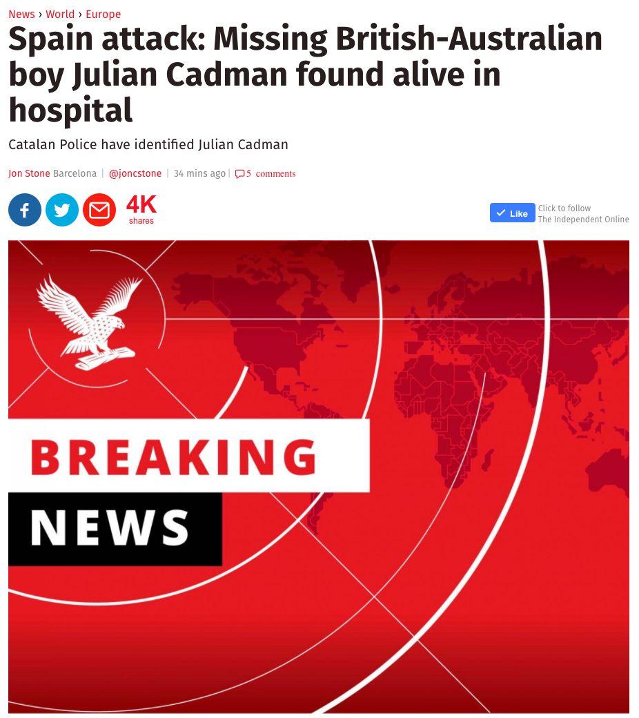 Missing 7yo British-Australian boy confirmed dead in Barcelona attack