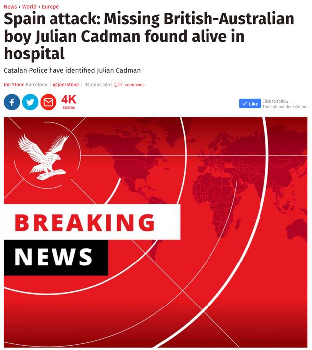 Julian Alessandro Cadman: Reports Missing Boy Has Been Found 'Are