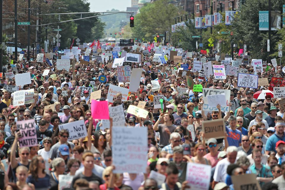 Thousands of counterprotesters march against the<br>Boston Free Speech Rally on Saturday.