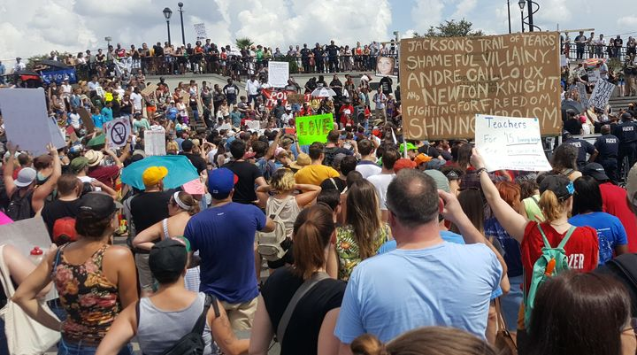 Demonstrators protesting racism and white supremacy marched from Congo Square to Jackson Square in New Orleans on Saturday.
