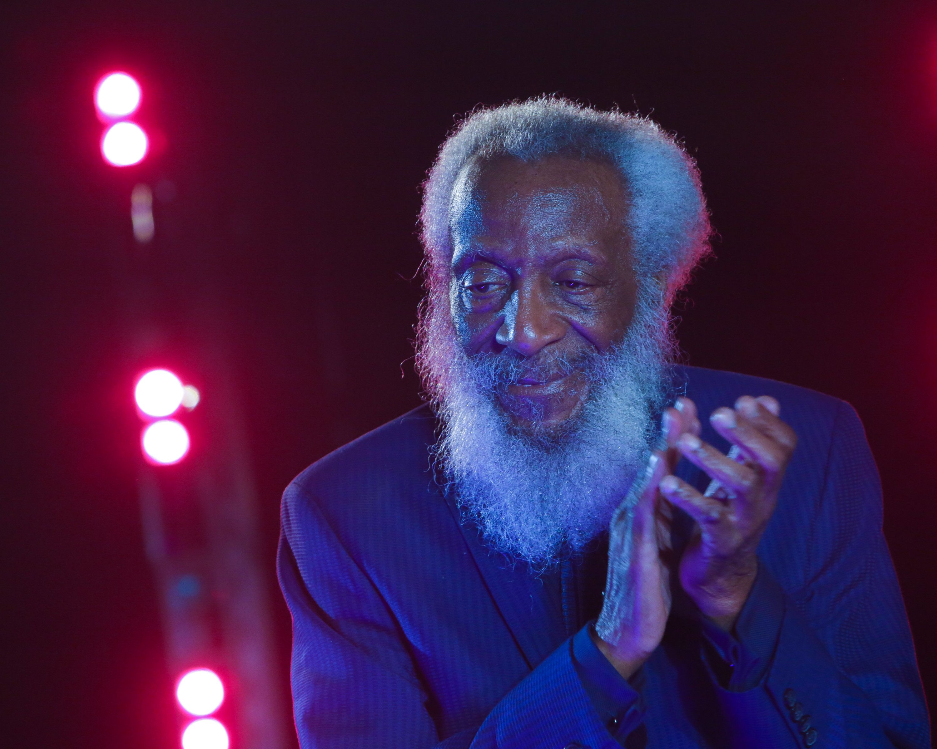 NEW YORK, NY - MAY 19:  Comedian/civil rights activist Dick Gregory speaks on stage following the opening night performance of 'Turn Me Loose' held at The Westside Theatre on May 19, 2016 in New York City.  (Photo by Brent N. Clarke/FilmMagic)