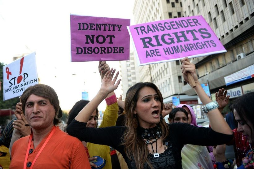 Pakistani transgender march at a rally for World's Aid Day in 2013.