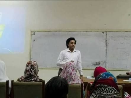 Aisha Mughal first transgender lecturer teaching at a local university.