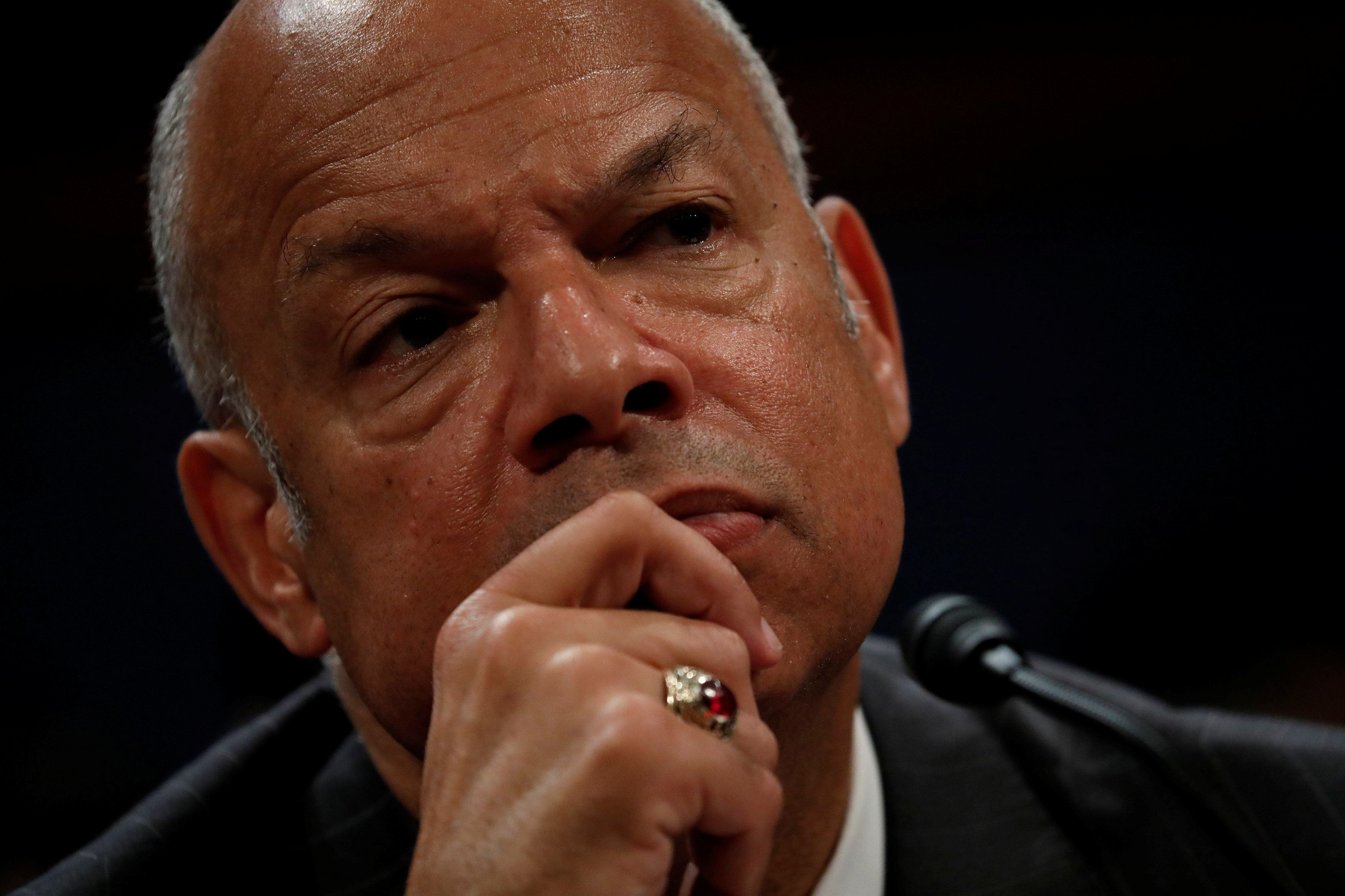 Former U.S. Secretary of Homeland Security Jeh Johnson testifies about Russian meddling in the 2016 election before the House Intelligence Committee on Capitol Hill in Washington, U.S., June 21, 2017. REUTERS/Aaron P. Bernstein