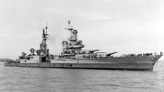 The World War II cruiser USS Indianapolis (CA 35), which was lost July 30, 1945 is seen off the Mare Island Navy Yard, California, U.S. on July 10, 1945, after her final overhaul and repair of combat damage.  Courtesy Bureau of Ships Collection in the U.S. National Archives/U.S. Navy/Handout via REUTERS   ATTENTION EDITORS - THIS IMAGE HAS BEEN SUPPLIED BY A THIRD PARTY.       TPX IMAGES OF THE DAY