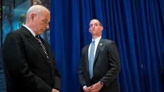 NEW YORK, NY - AUGUST 15: White House Chief of Staff Gen. John Kelly looks on as US President Donald Trump speaks following a meeting on infrastructure at Trump Tower, August 15, 2017 in New York City. He fielded questions from reporters about his comments on the events in Charlottesville, Virginia and white supremacists. (Photo by Drew Angerer/Getty Images)