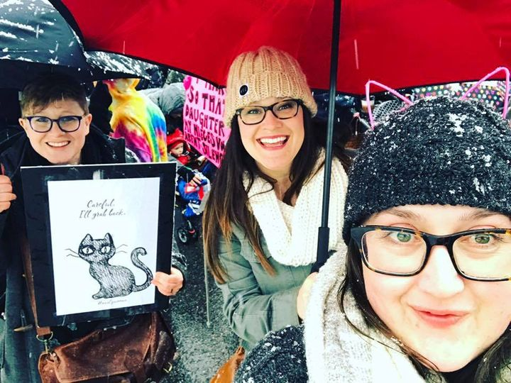(Left to right) Gomberg's wife, Elenor, Marina and her sister, Joey McNamee at the Women's March in Salt Lake City, Utah