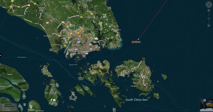 A map shows the location where the Alnic MC merchant vessel came to a halt after a collision with the guided-missile destroye