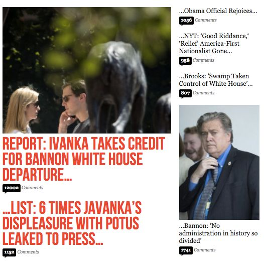 Breitbart News later ran a story saying the White House denied reports that Ivanka Trump was involved with Steve Bannon's rem