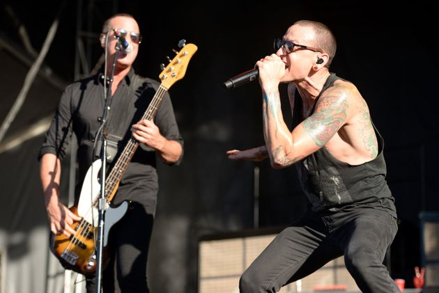 Linkin Park performing in