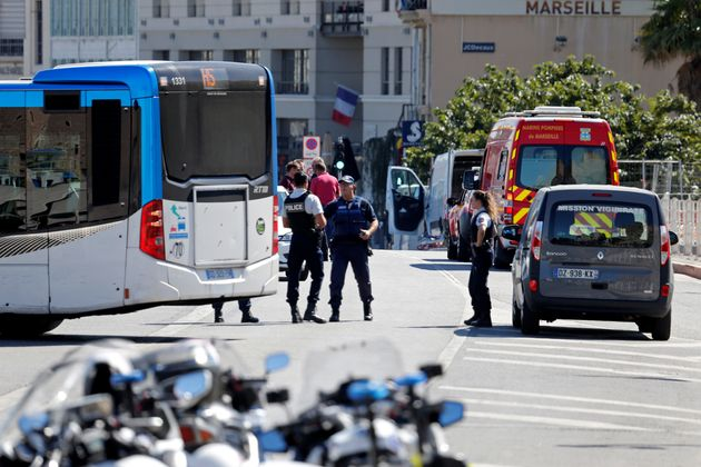French police secure the area in the French port city of
