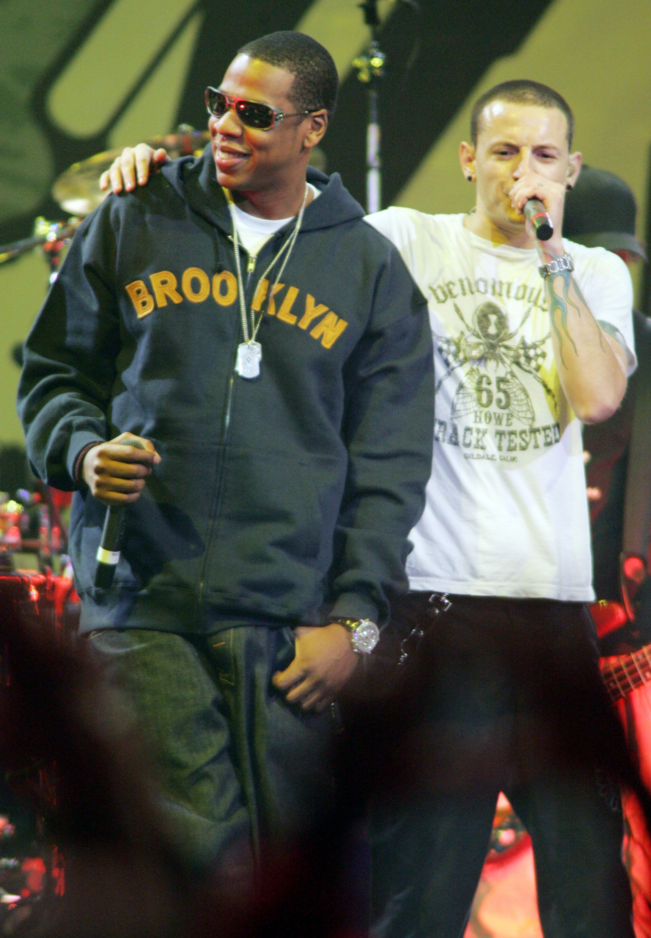 Jay-Z performs with Chester Bennington of Linkin Park (Photo by John Shearer/WireImage)