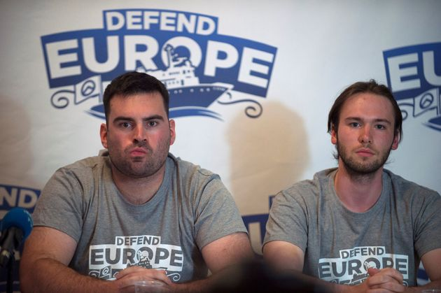 Jean David Cattin (L) and Damiano Gioranna, members of anti-migrant group 'Defend Europe', hold a press...