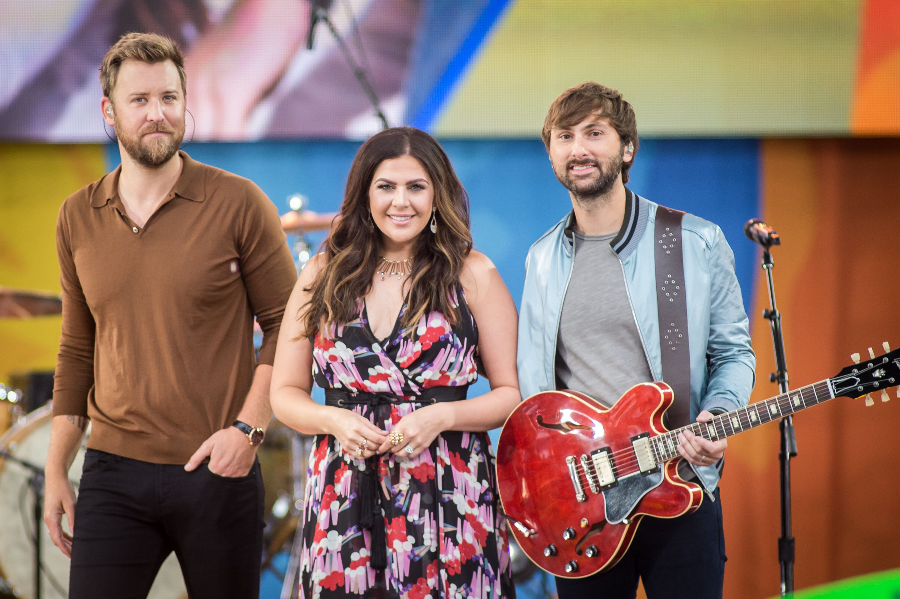 NEW YORK, NY - JULY 14:  (L-R) Charles Kelley, Hillary Scott and Dave Haywood of Lady Antebellum performs on ABC's 'Good Morning America' at Rumsey Playfield on July 14, 2017 in New York City.  (Photo by Mark Sagliocco/FilmMagic)