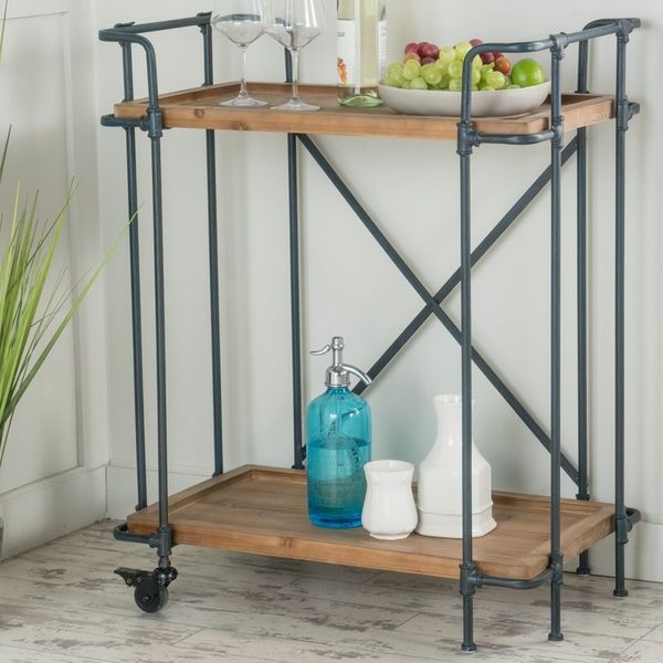 A bar cart will elegantly display any dish-ware, wine glasses, or spirits and mixers while saving you counter and cabinet spa