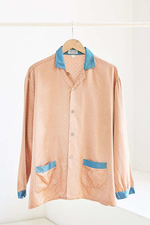 "<a href=""https://www.urbanoutfitters.com/shop/vintage-peach-turquoise-silky-pajama-top?category=SEARCHRESULTS&color=000"""