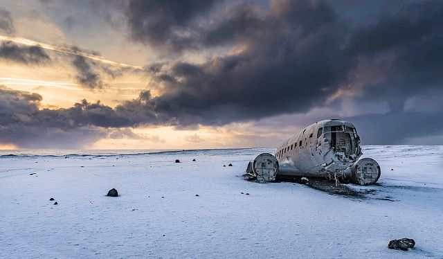 Plane crash remains at Sólheimasandur's black sand beach in Iceland