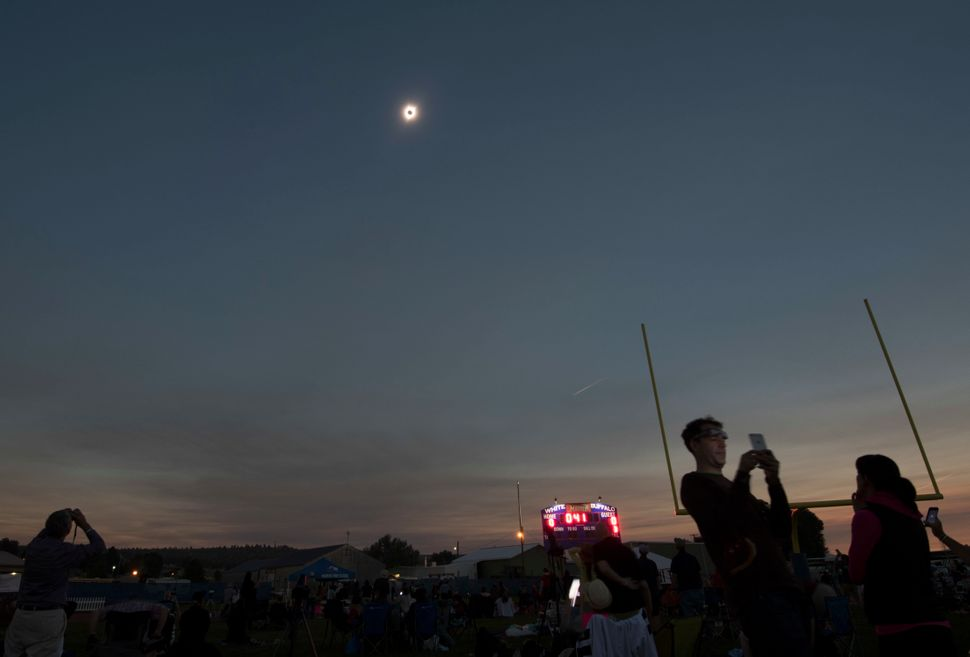 A total solar eclipse is seen from the Lowell Observatory Solar Eclipse Experience in Madras, Oregon.