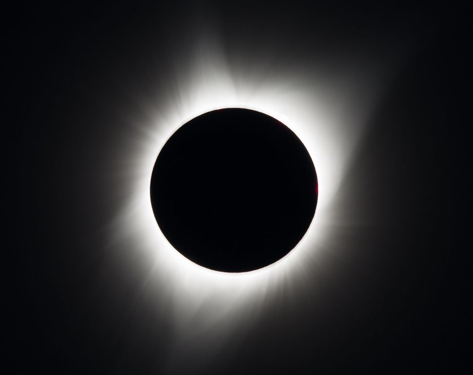 The total solar eclipse is seen in Madras, Oregon.