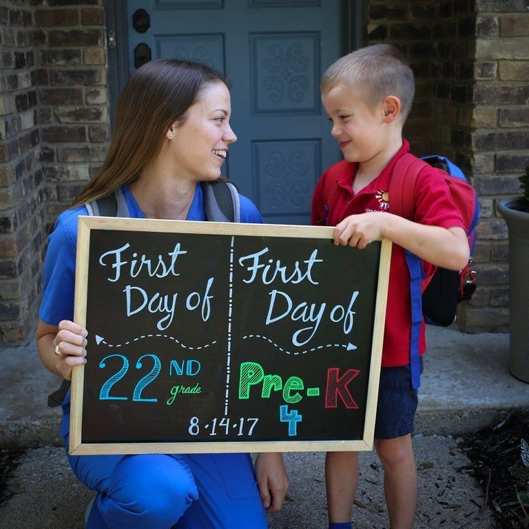 Katie and Scott Tucker said they hope this photo encourages other parents who are in school or considering returning to their education.