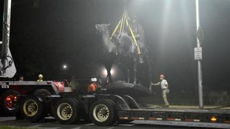 The Jackson-Lee Monument in Wyman Park is removed after workers took down four Confederate monuments overnight in the city on Aug. 16, 2017 in Baltimore, Md. (Denise Sanders/ Baltimore Sun/TNS via Getty Images)