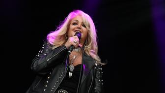 NAAS, IRELAND - JULY 30:  Bonnie Tyler performs on stage at Punchestown Music Festival at Punchestown Racecourse on July 30, 2017 in Naas, Ireland.  (Photo by Debbie Hickey/Getty Images)