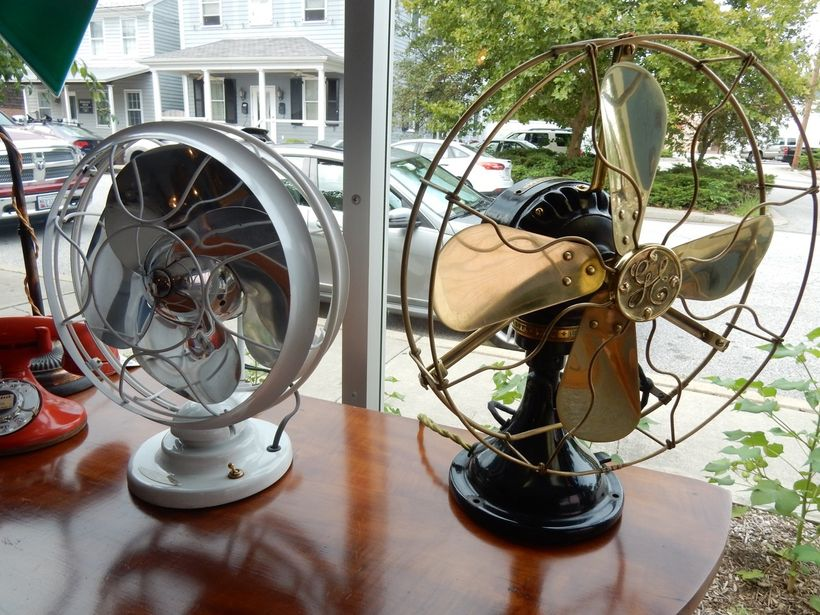 Works of art: restored early 1900's fans at Chestertown Electric MD