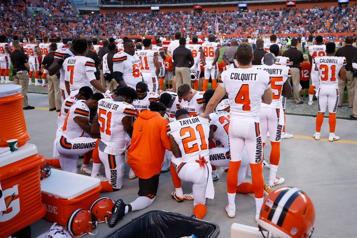 The Cleveland Browns have issued a statement about why the players decided to kneel ahead of their preseason game against the