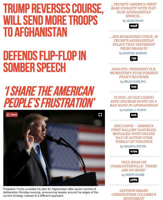 A screenshot of Breitbart News following Trump's Monday night speech on Afghanistan.