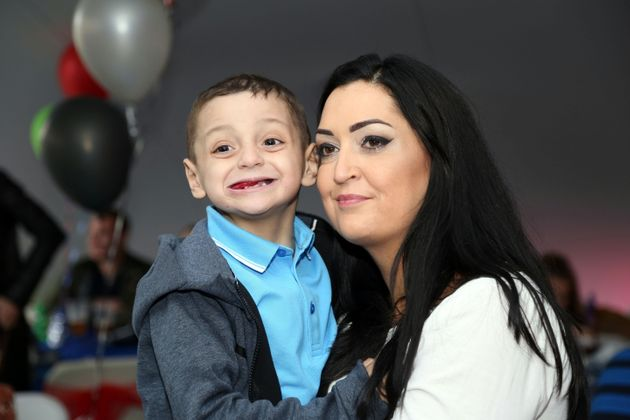 Bradley Lowery and mum Gemma at his 6th birthday party at Welfare Park, Blackhall on May 19, 2017 in...
