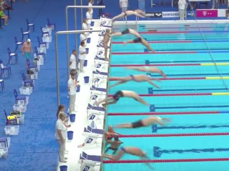 Spanish swimmer sacrifices race to stage a tribute to Barcelona victims