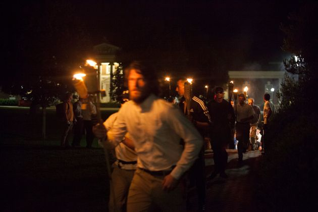 Button-front shirts and tiki torches were abound in Charlottesville on Aug.