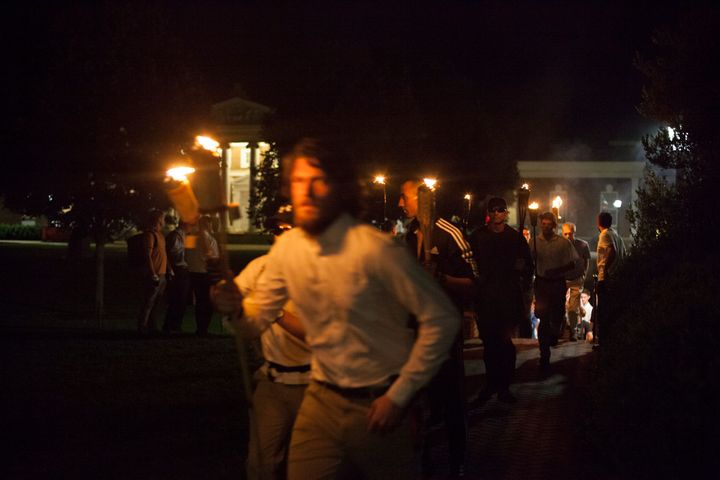 Button-front shirts and tiki torches were abound in Charlottesville on Aug. 11.
