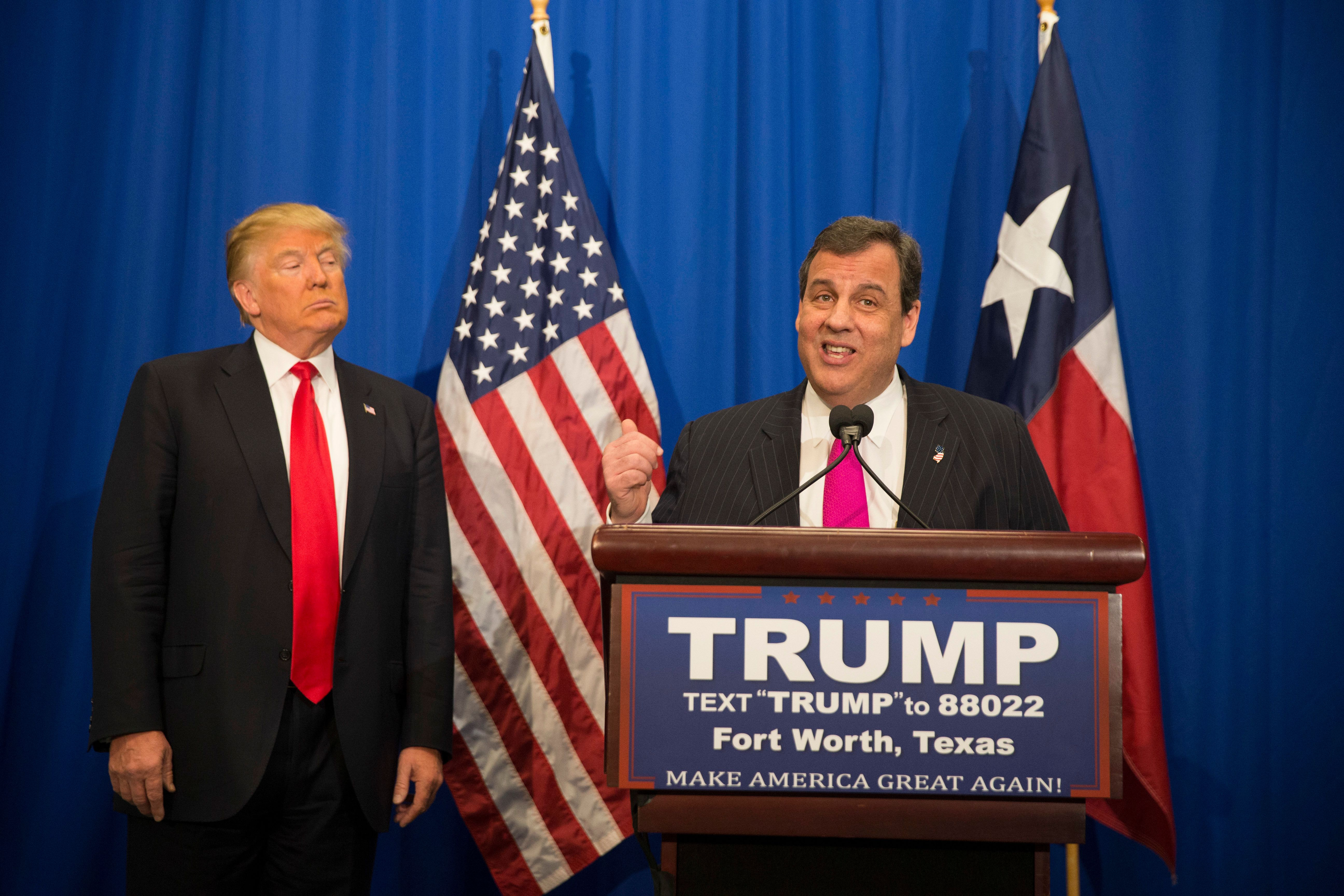 Republican presidential candidate Donald Trump get the endorsement of former candidate New Jersey Gov. Chris Christie during a rally at the Fort Worth Convention Center. Texas is the big prize in the upcoming Super Tuesday primary on March 2. (Photo by Robert Daemmrich Photography Inc/Corbis via Getty Images)