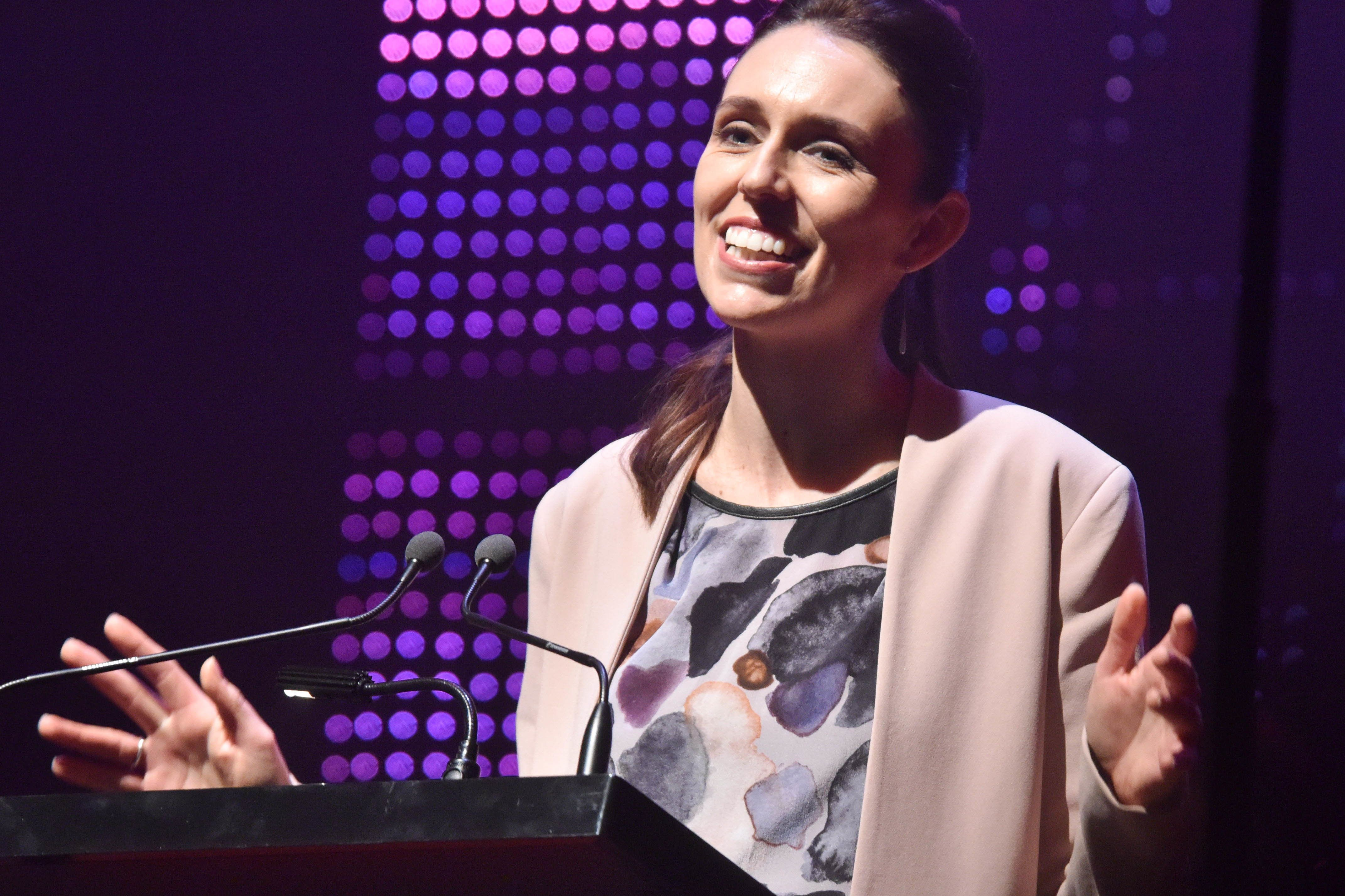 TOWN HALL, AUCKLAND, NEW ZEALAND - 2017/08/20: Labor Party leader Jacinda Ardern makes speech during the  official campaign launch at Auckland Town Hall , New Zealand on Aug 20, 2017. Jacinda Ardern is a New Zealand politician who has been the Leader of the Labour Party and Leader of the Opposition since 1 August 2017.The 2017 New Zealand general election is scheduled to be held on  23 September 2017 . The current government is National Party. (Photo by Shirley Kwok/Pacific Press/LightRocket via Getty Images)