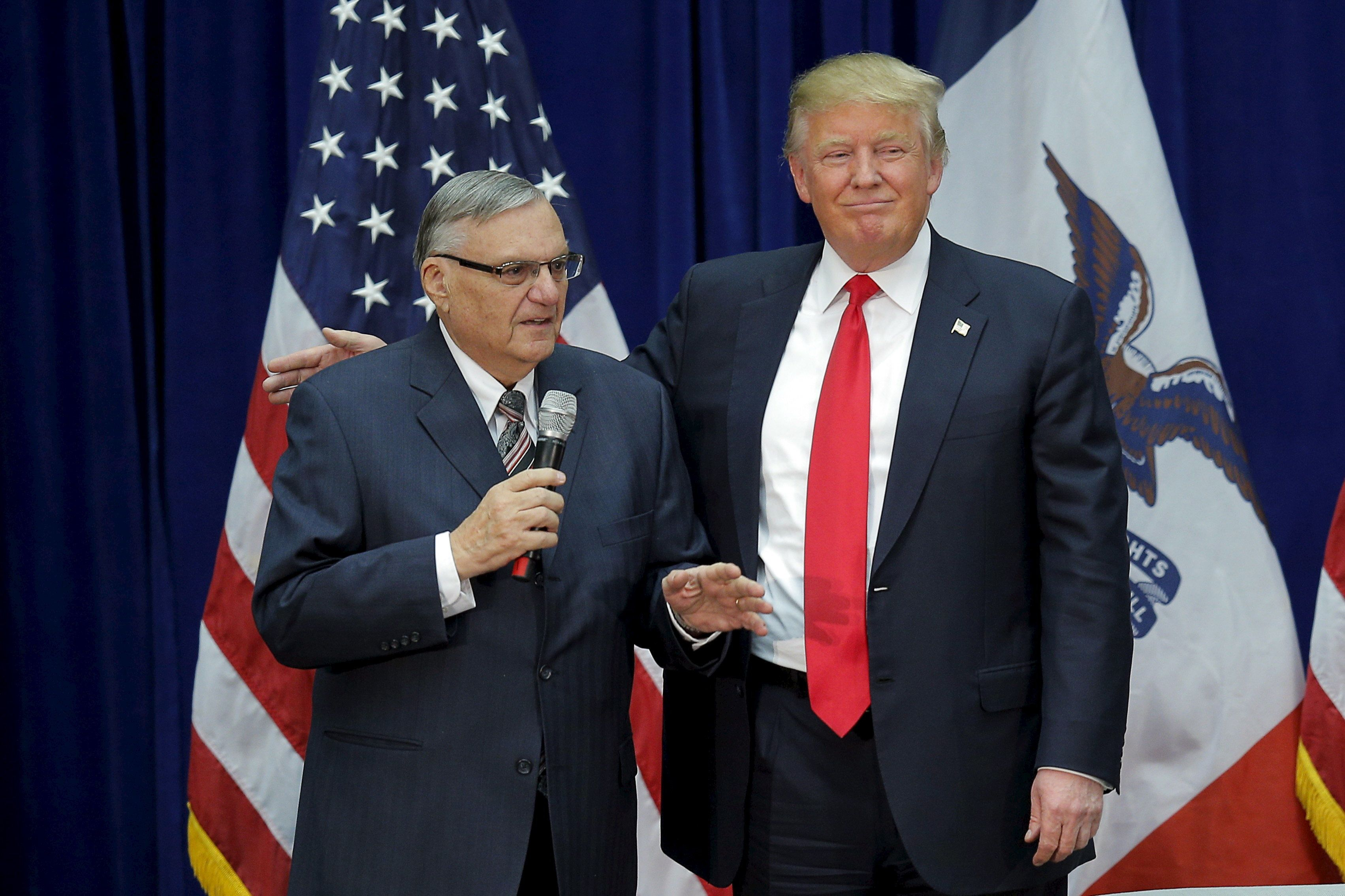 Donald Trump with former Maricopa County sheriff Joe Arpaio, left, in January 2016, when he endorsed the then-GOP p