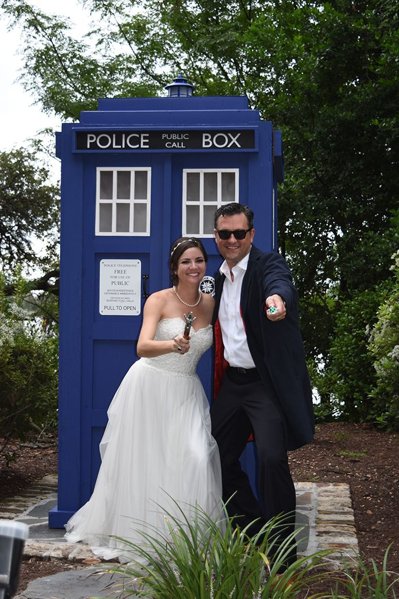 Kelly Turek and Chris Dutton brought their Tardis (compliments of Chuck Carte and Carolina Tardis) and sonic screwdrivers for
